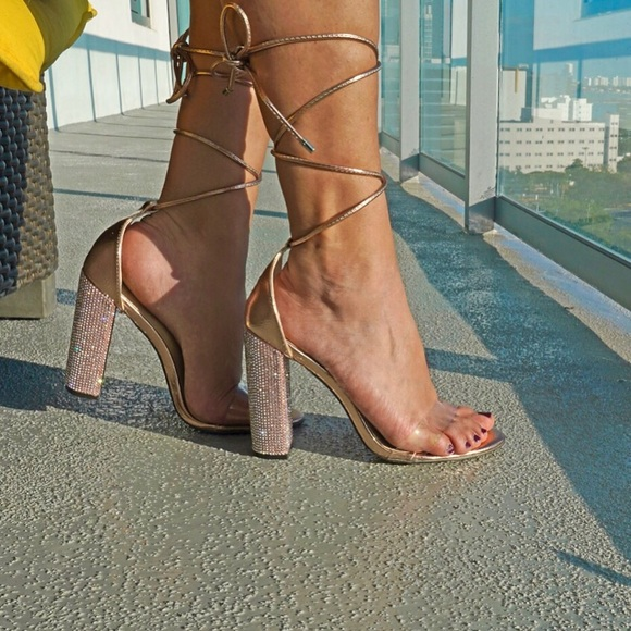 Style Link Miami Shoes - Rose Gold Embellished Clear Toe Strap High Heels